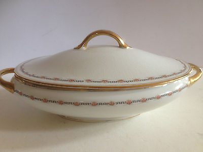 Vintage Johnson Bros. England Oval Soup Tureene 24 Kt' Gold Detail Roses
