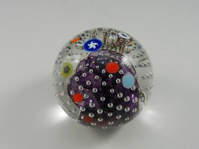 """Art Glass Paperweight Controlled Bubbles Floating Canes Clear Purple 3"""" D"""