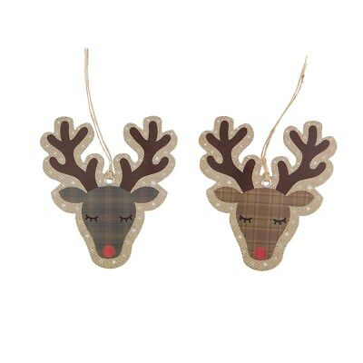 Set of 10 Rudolph Reindeer Luxury Christmas Gift Tags Labels Present Brown Card