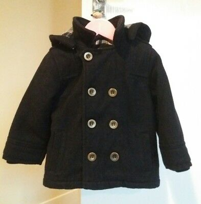Navy Blue Double Breasted Wool Coat Hood Winter Warm 18-24 Months