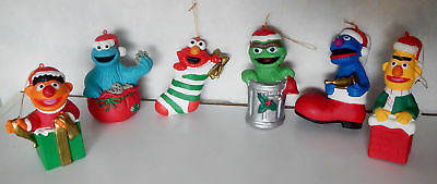6 Vtg Jim Hensen Sesame Street Christmas Tree Ornaments Elmo Ernie Cookie Monste
