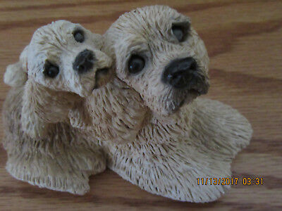 Vintage Stone Critters Blonde Cocker Spaniel Dogs Small Figure with tie tac~Mint