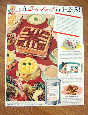 1948 Can Manufacturers Institute New York Ad  A 3 in 1 Meal in 1-2-3