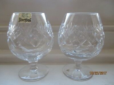 pair of royal doulton georgian  cut glass brandy glasses height 4 3/4 inches