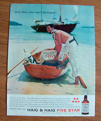 1958 Haig & Haig Five Star Whiskey Ad Pirate & Ship