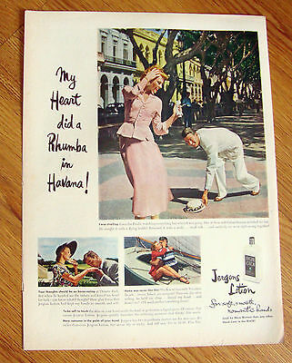 1949 Jergens Lotion Ad Heart did a Rhumba in Havana