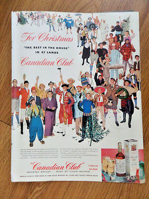1953 Canadian Club Whiskey Ad For Christmas The Best in the House in 87 Lands