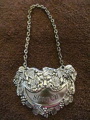 Vintage Ornate  Bottle Tag with Chain  - SCOTCH.