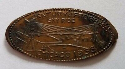 1933 Elongated Cent Chicago Century of Progress Featuring the Sky Ride