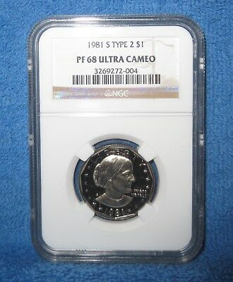 """1981-S Type 2 Flat-Clear """"S"""" Proof Susan B. Anthony dollar.NGC PF 68 ULTRA CAMEO"""