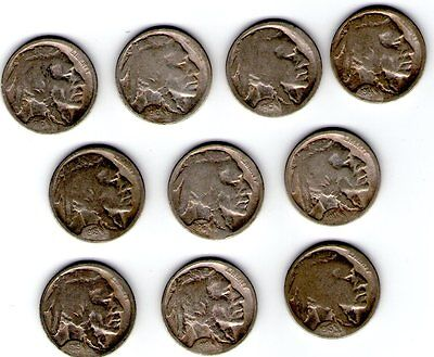 10 Different Restored Date Buffaloes - 1914-19-D&s