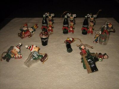 11 Assorted Piece Set Of Coca Cola Elves Holiday Christmas Tree Ornaments