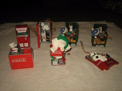 7 Assorted Piece Set Of Coca Cola Bears, Elves Holiday Christmas Tree Ornaments