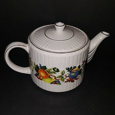 Vtg Ellgreave Ironstone Tea Pot Wood And Sons Fruit Design Made in England