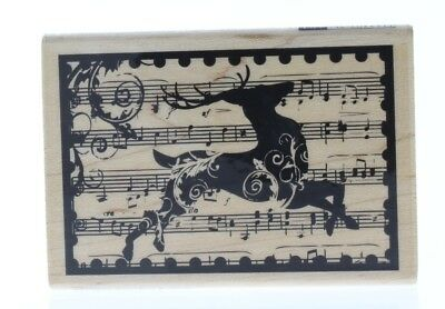 Hampton Art Reindeer Music Collage Wooden Rubber Stamp