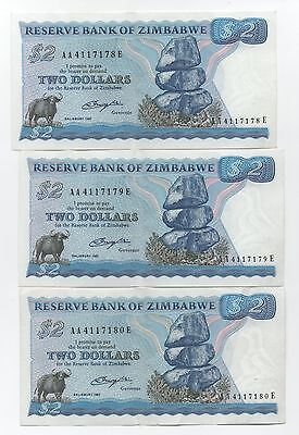 Zimbabwe 3 X 2 Dollars 1980 Pick 1 A Consecutive Numbers Look Scans