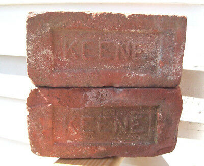 2 Lot ~ KEENE~ Red Clay Bricks Keene NH Brick Co (1909-1920) Brickyard KSC