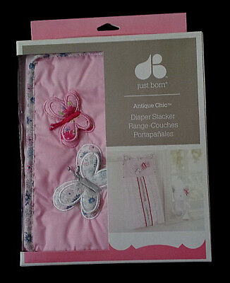 NEW-Just Born Antique Chic Diaper Stacker/Pink Floral Butterflies/Baby Girl