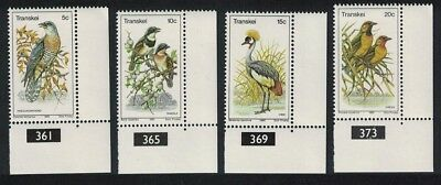 Transkei Birds 4v issue 1980 Corners with Black control numbers SG#75-78