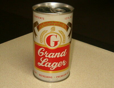 Grand Lager Zip Tab Pull Tab Beer Can. Grand Lager Brg. Co. St. Charles, Mo.