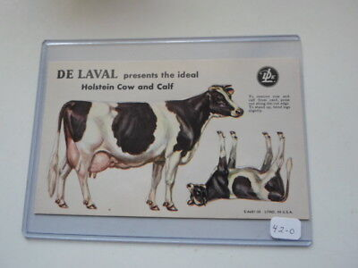Happy Holdiays! DeLaval Dairy Ideal Holstein 1950 Litho Trade Card