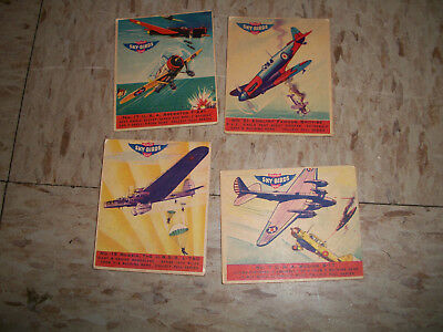 LOT OF 4 1941 Goudey Sky-Birds Chewing Gum Cards WW2 PLANES B-17 Spitfire