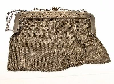 Antique Sterling Silver Mesh Purse Chain Handbag Woven Vtg Floral Ornate Germany