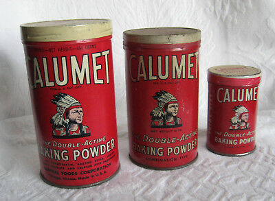 3 Sizes Calumet Baking Powder Tins - Earliest Indian Chief - Smallest Trial Size
