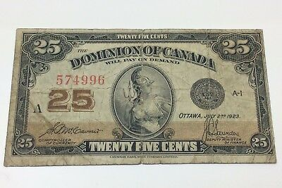 1923 Dominion of Canada McCavour Twenty Five 25 Cents Shinplaster Bank Note C019
