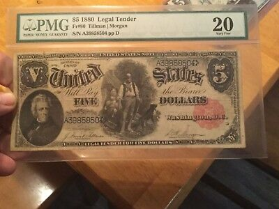 1880 $5 Legal Tender Woodchopper PMG 20 Nice Note