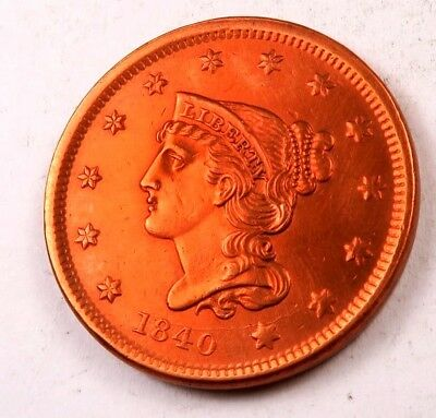 1840 Braided Hair Large Cent // Gem BU++++ *RED* // STUNNING!!!!! (LC7443)