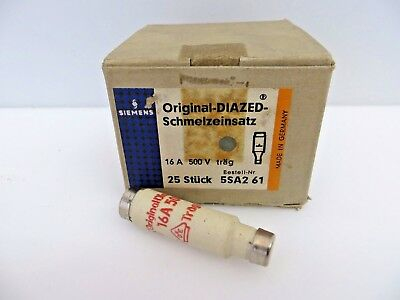 SIEMENS 5SA2 61 Schmelzeinsatz Original-Diazed Fuse 16A 500V Box of 25 Bottles