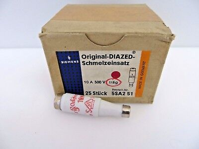 SIEMENS 5SA2 51 Schmelzeinsatz Original-Diazed Fuse 10A 500V Box of 25 Bottles