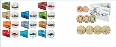 2017 50c UNCIRCULATED FORD HERITAGE 12 COINS TIN + SET OF 8 POSSUM MAGIC COINS