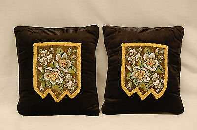 Stunning Pair of 19th Century Victorian Glass Beaded Floral Designed Pillow Cove