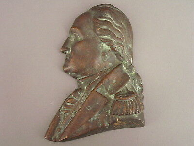 Vintage Cast Bronze Or Brass Profile Bust Plaque Of George Washington