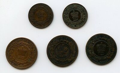 Weeda Nova Scotia complete set of coinage, 1861-1864 half cents & large cents