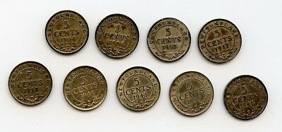 Weeda Newfoundland 1904-1945 silver 5 cents, lot of 9 different, see scans