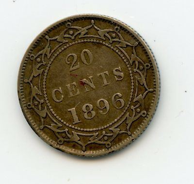 Weeda Newfoundland 1896 silver 20 cents, lovely grade, attractive, see scans