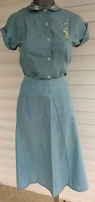 True Vintage 1940s Blue Cotton Two Piece A Line Skirt n Top With Embroidery