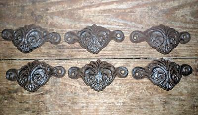 Six (6) Cast Iron Handles Drawer Pulls Rustic Brown Metal Vintage Style 3 1/2""