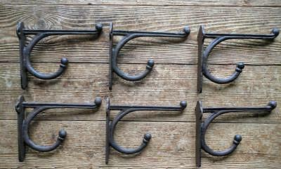 "Six (6) Large Cast Iron Coat/Hat/Tack Double HOOKS 6"" Rustic Brown Vintage Style"