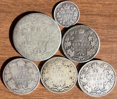 Cool Mixed Lot of 6 Different Canada SILVER Coins 1898 - 1930