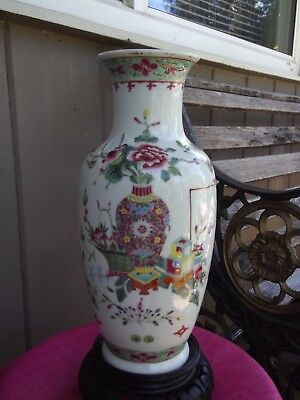 Antique Vintage Chinese Famille Rose Porcelain Vase Bat Carved Wood Stand