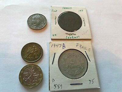 Lot of 5 different coins from the Republic of France (various historic eras).