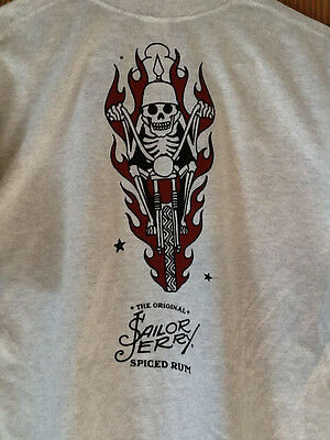 Sailor Jerry Spiced Rum Grey Mens TShirt Large NEW Gildan Motorcycle Skull