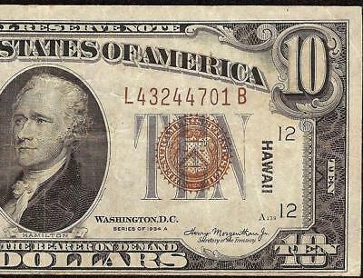 1935A $10 DOLLAR BILL WWII HAWAII FEDERAL RESERVE BROWN SEAL NOTE MONEY Fr 2303