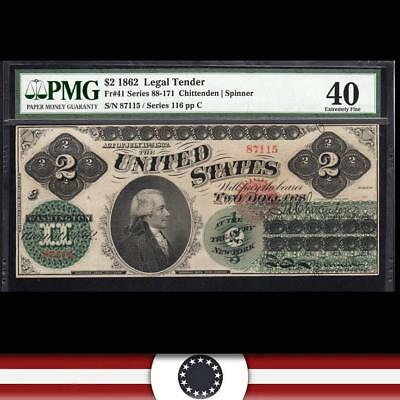 Fr 41 1862 $2 Legal Tender GREEN BACK PMG Extremely Fine 40