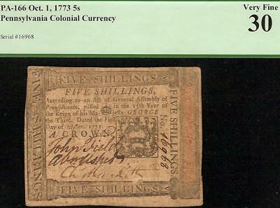 OCT 1, 1773 PENNSYLVANIA COLONIAL CURRENCY 5s NOTE PAPER MONEY PA-166 PCGS 30