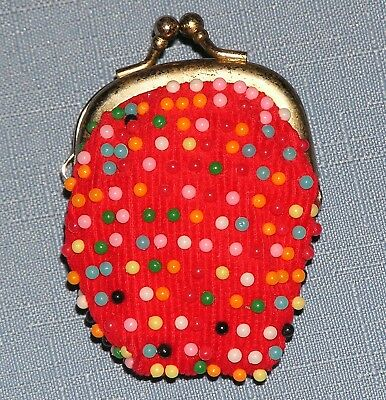 Beaded Coin Purse red fabric metal top with kiss lock vintage 1960s bead